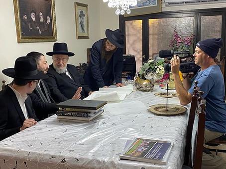 Preparing for the Yad Vashem Museum 75 year Holocaust memorial, filming for the German TV.