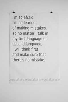 """A word after a word after a word (Mistakes).  Screenprint on newsprint, 28"""" x 40"""", 2015"""