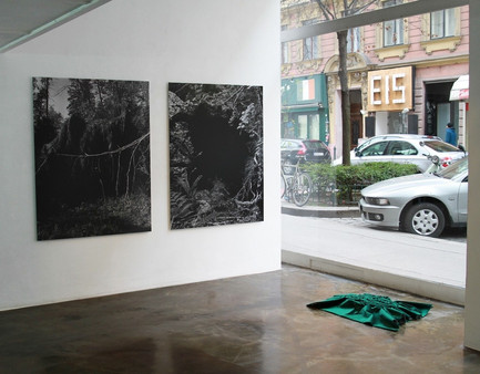 Installation of Fold in on itself exhibition at Schleifmühlgasse 12-14, Vienna, Austria, Feb 2018, showing (from left to right) Fell 2, Fell 1