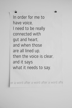 """A word after a word after a word (Gut).   Screenprint on newsprint, 28"""" x 40"""", 2015"""