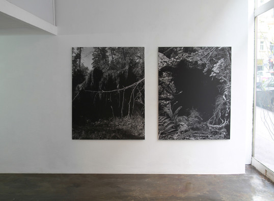 Installation of Fold in on itself exhibition at Schleifmühlgasse 12-14, Vienna, Austria, Feb 2018, showing (from left to right) Fell 2, Fell , Untitled