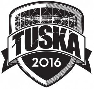 The 2016 Tuska logo with the Suvilahti gasometer.