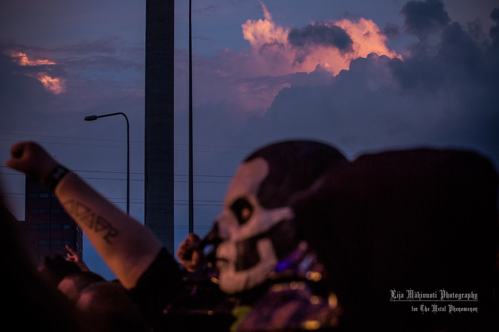 The sky was ablaze – burning in 666 shades of red and purple during the Ghost gig. (Photos by Eija Mäkivuoti)