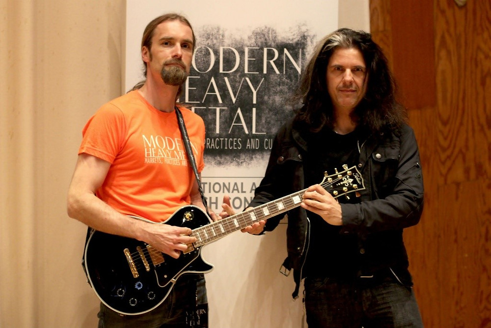 Toni-Matti Karjalainen with Alex Skolnick at Modern Heavy Metal Conference 2015. (Photo by Ron Claus)
