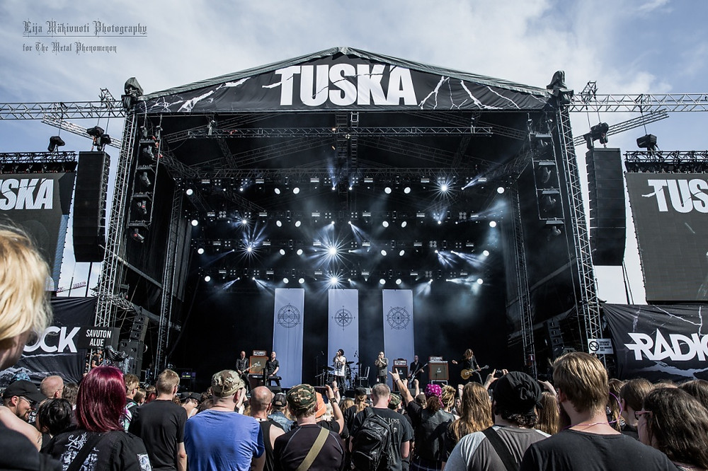 The first of three Swallow The Sun shows at Tuska Metal Open Air 2016. (Photo by Eija Mäkivuoti)