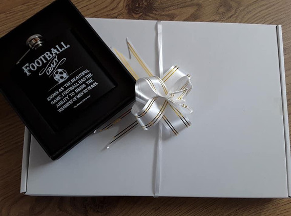 Mens Football Hip Flask Gift Box