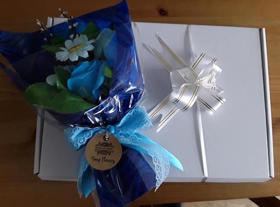 Blue Flower Soap Bouquet Gift Box