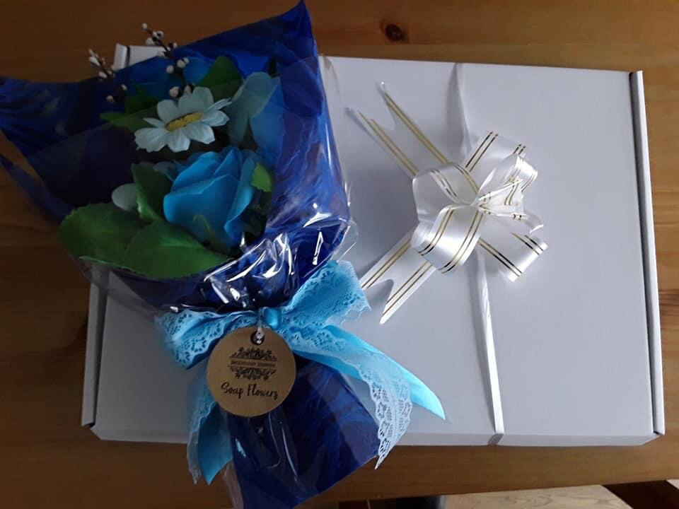 Blue Flower Soap Bouquet Gift Box