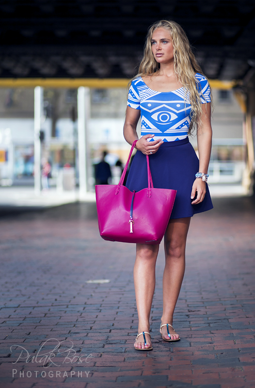 Tolyna - leather bag blue dress