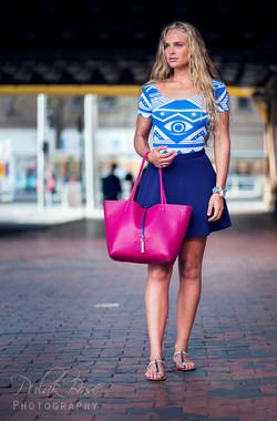 Tolyna - leather bag blue dress