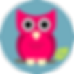 Pink Cartoon Owl and round blue backgrou