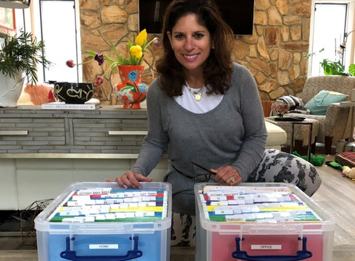 Dr. Gould was all smiles over her home and office filing systems.