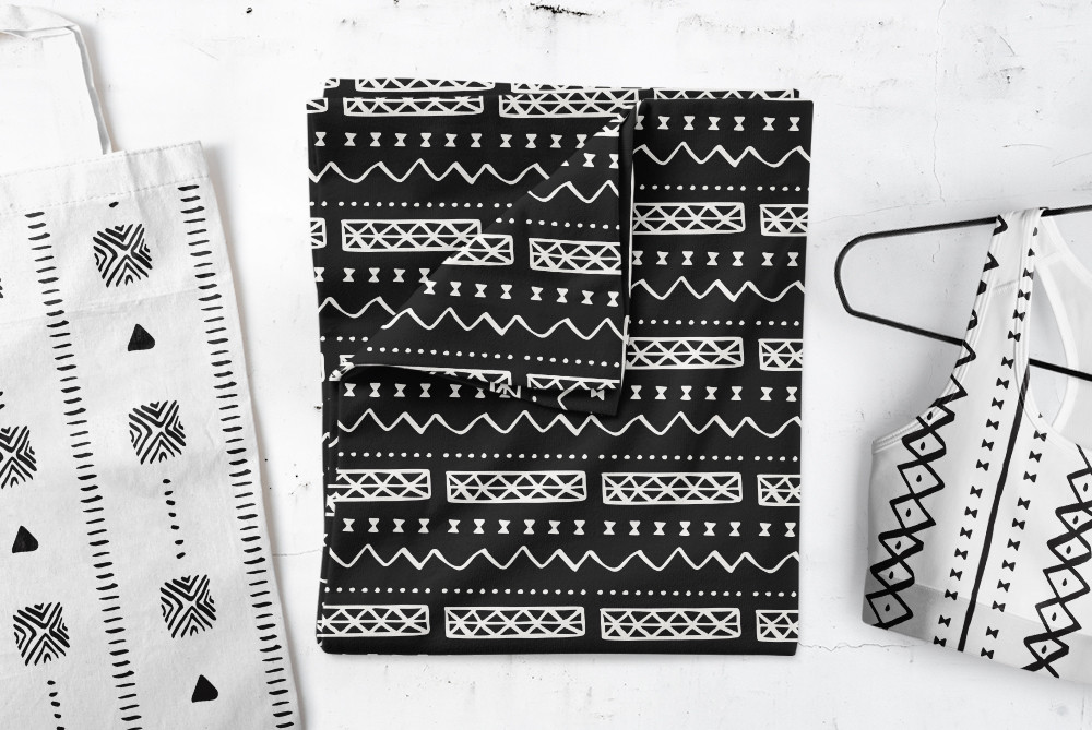 African Mudcloth Patterns on various fabrics