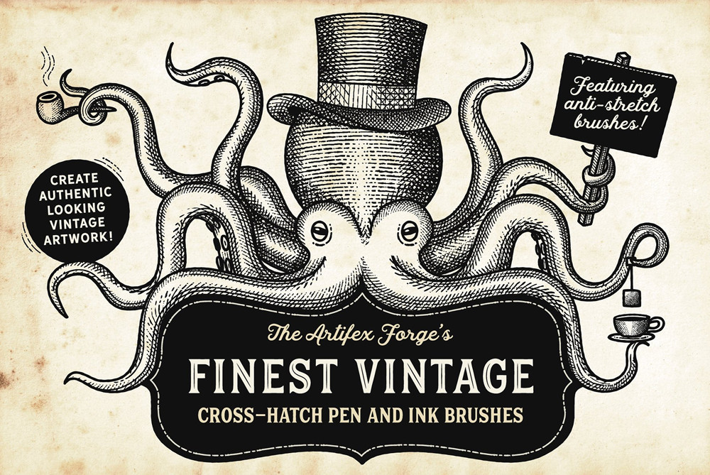 Vintage cross-hatch pen and ink brushes