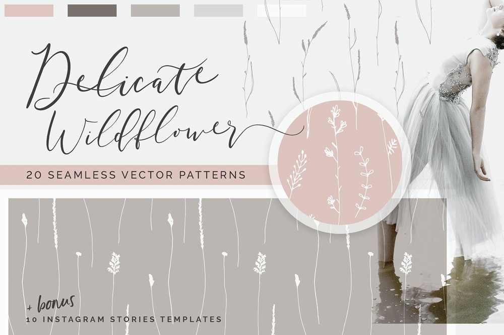 Wildflower Patterns + Templates Set by Youandigraphics