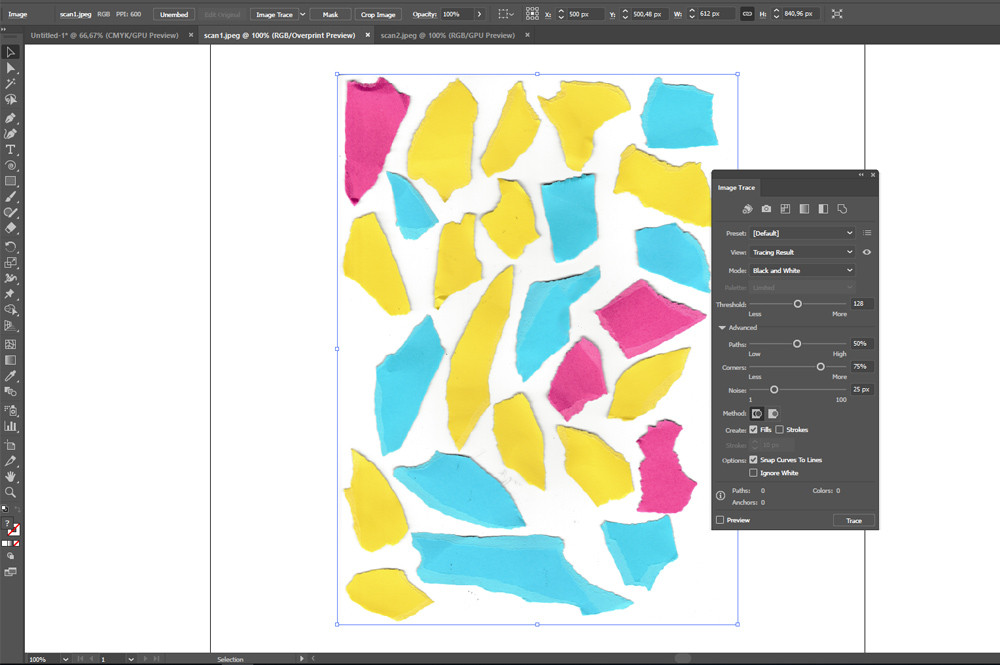 Open your scanned images in Illustrator