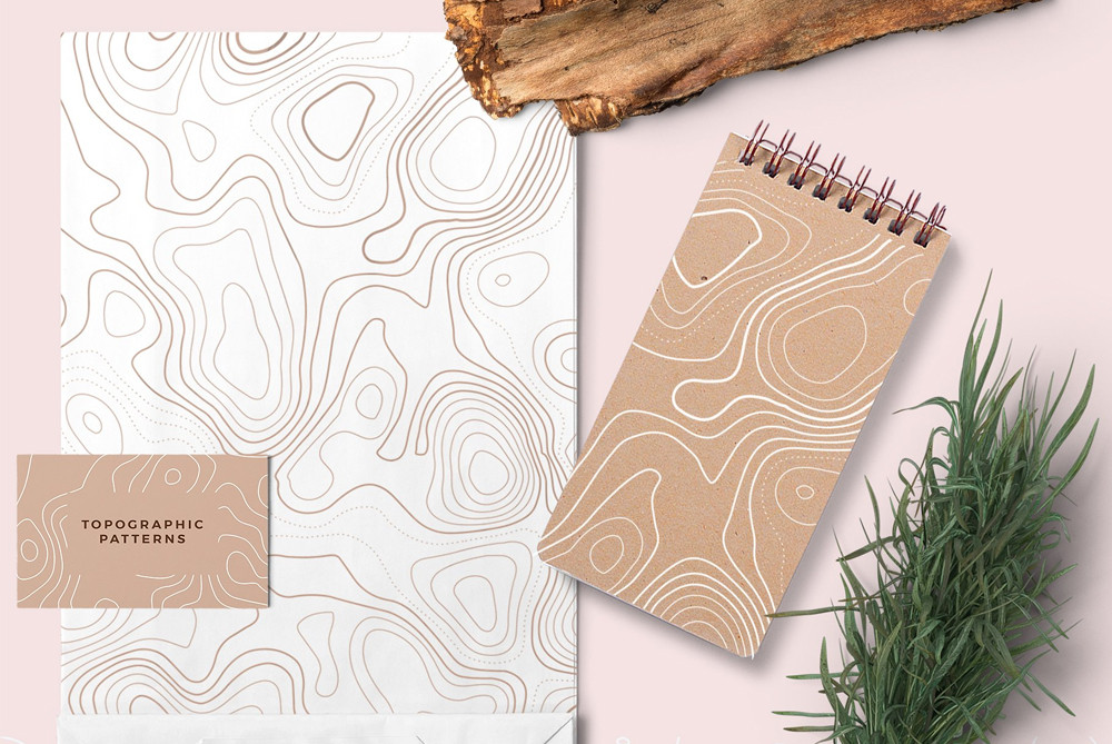 topographic seamless patterns on branding