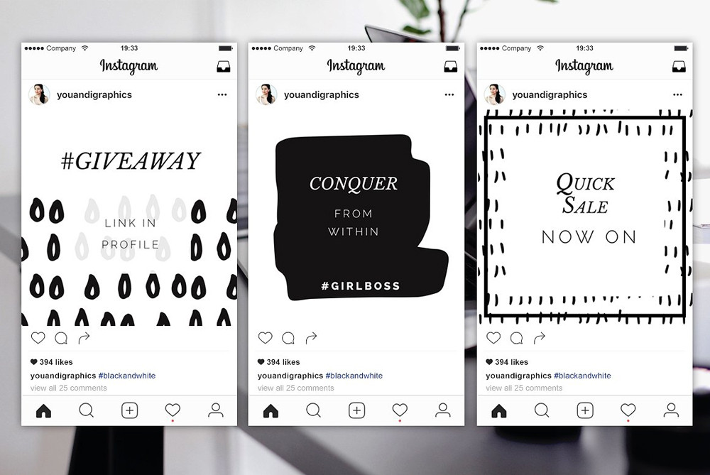 Instagram Posts Templates | Black and white patterns