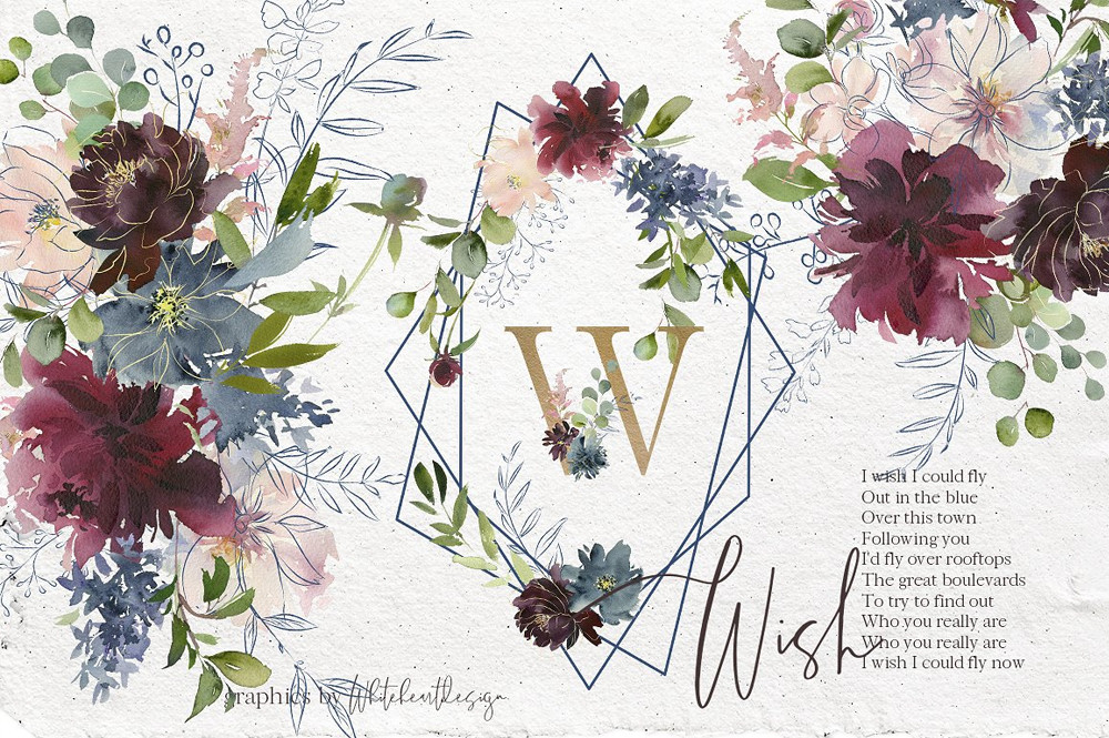 Wish Bordo Blue Watercolor Flowers by Whiteheartdesign