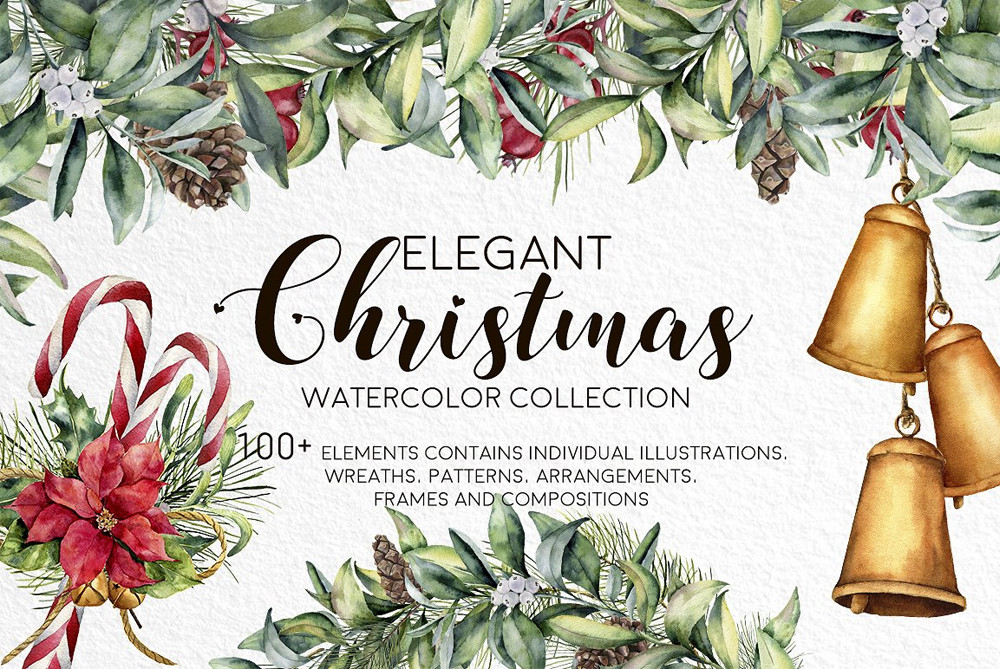 Elegant Christmas. Watercolor bundle