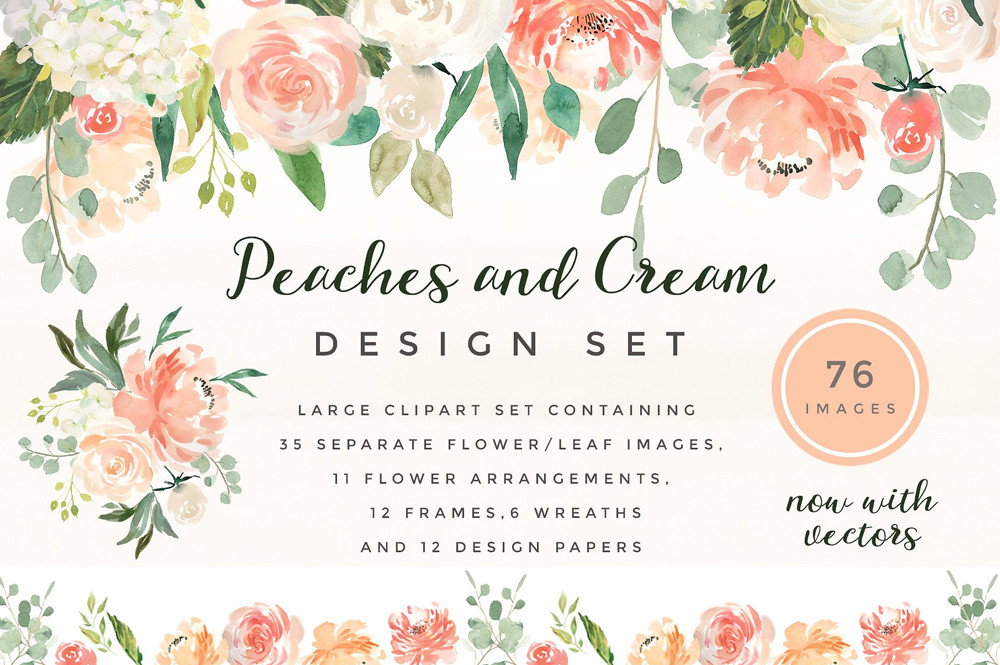Peaches & Cream Flower Graphic Set by Twigs and Twine