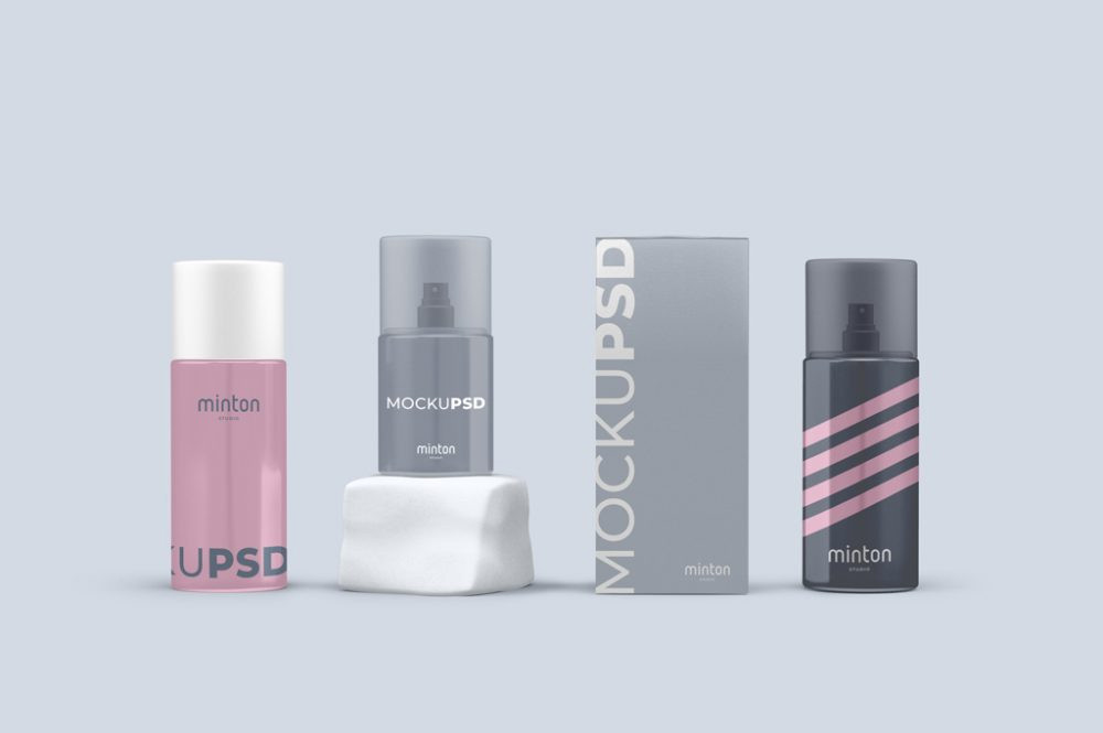 Cosmetics Items with Spray Bottles Mockup