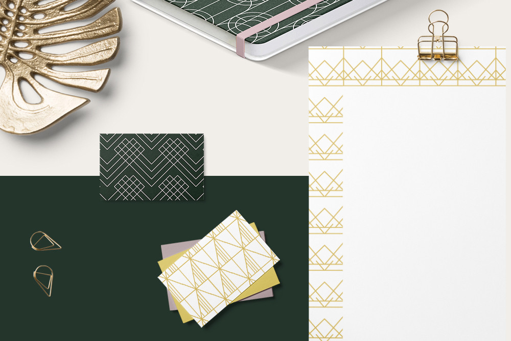 Printed branding material using monoline patterns patterns