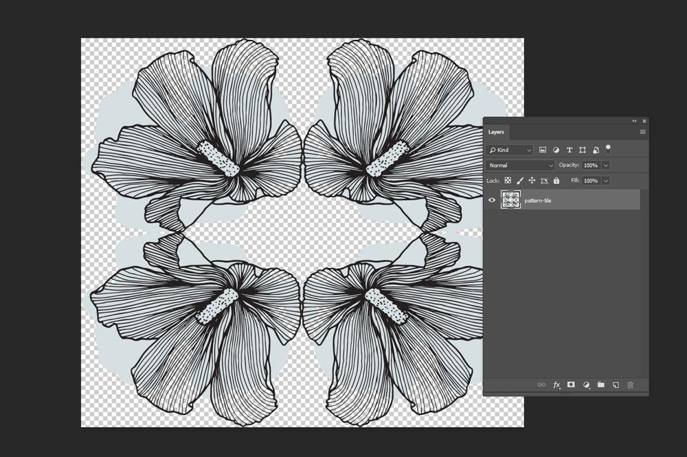 Lineart floral patterns tile