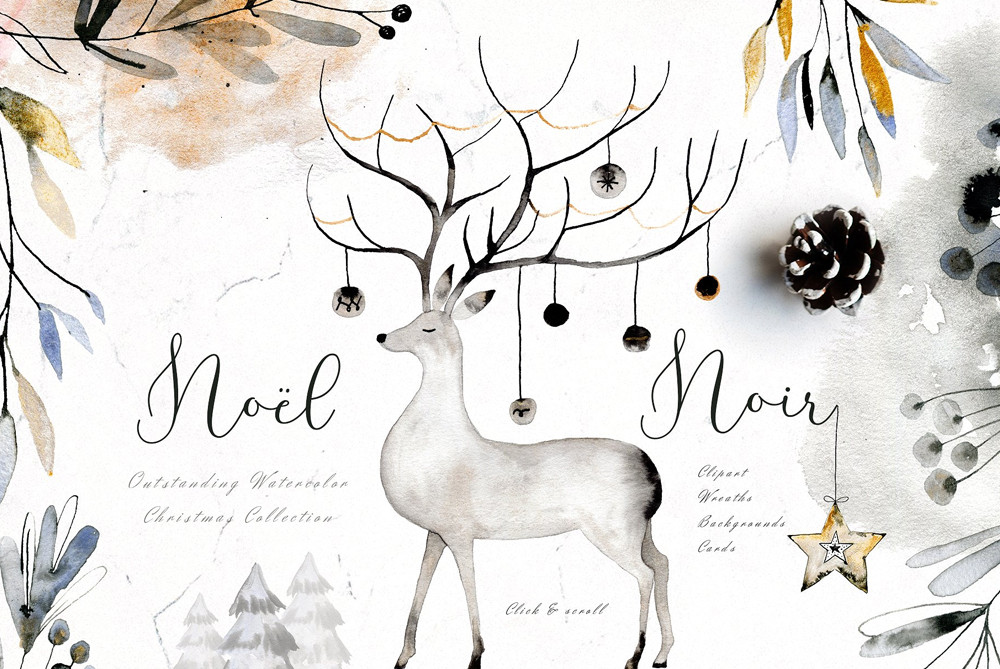 Noel Noir - Watercolor Christmas Set
