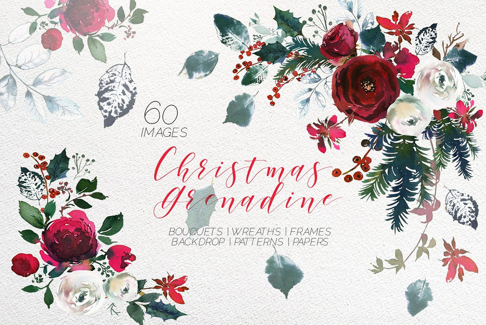 Christmas Watercolor Flowers Clipart