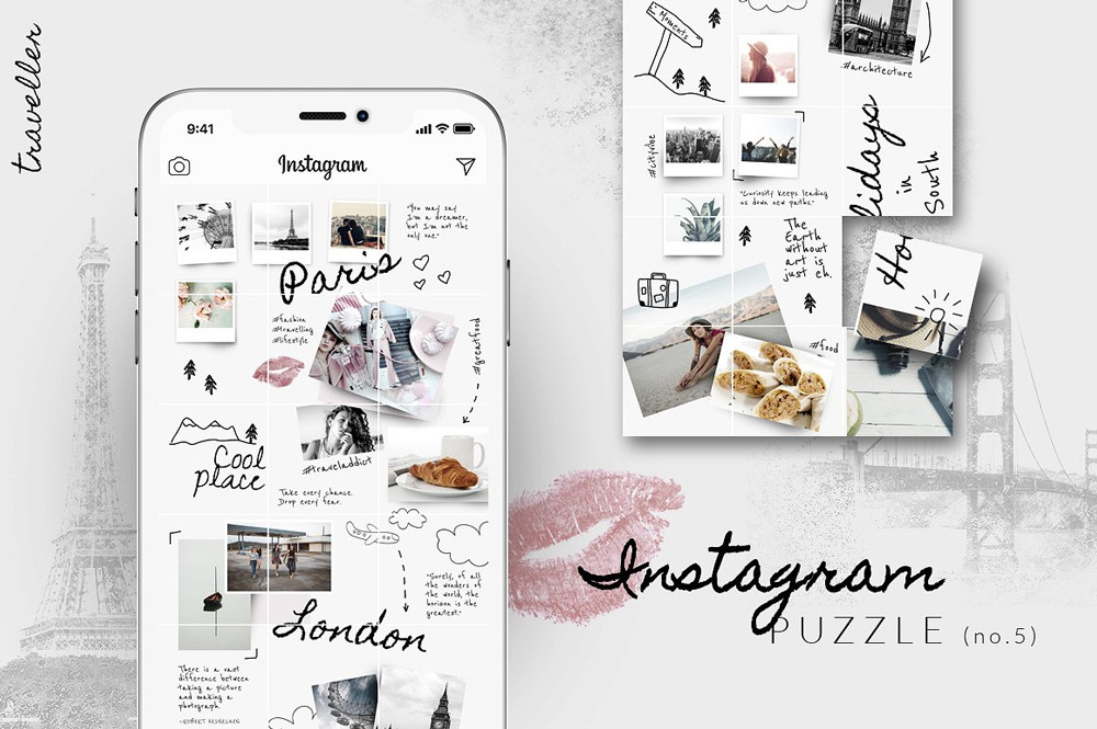Instagram PUZZLE template -Traveller