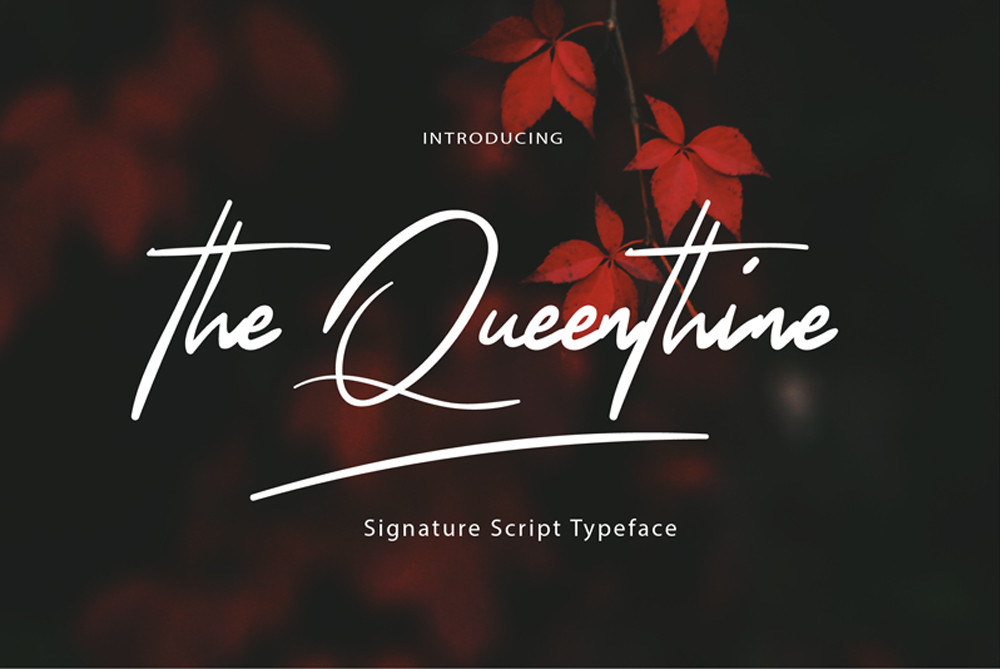 The Queenthine free script font