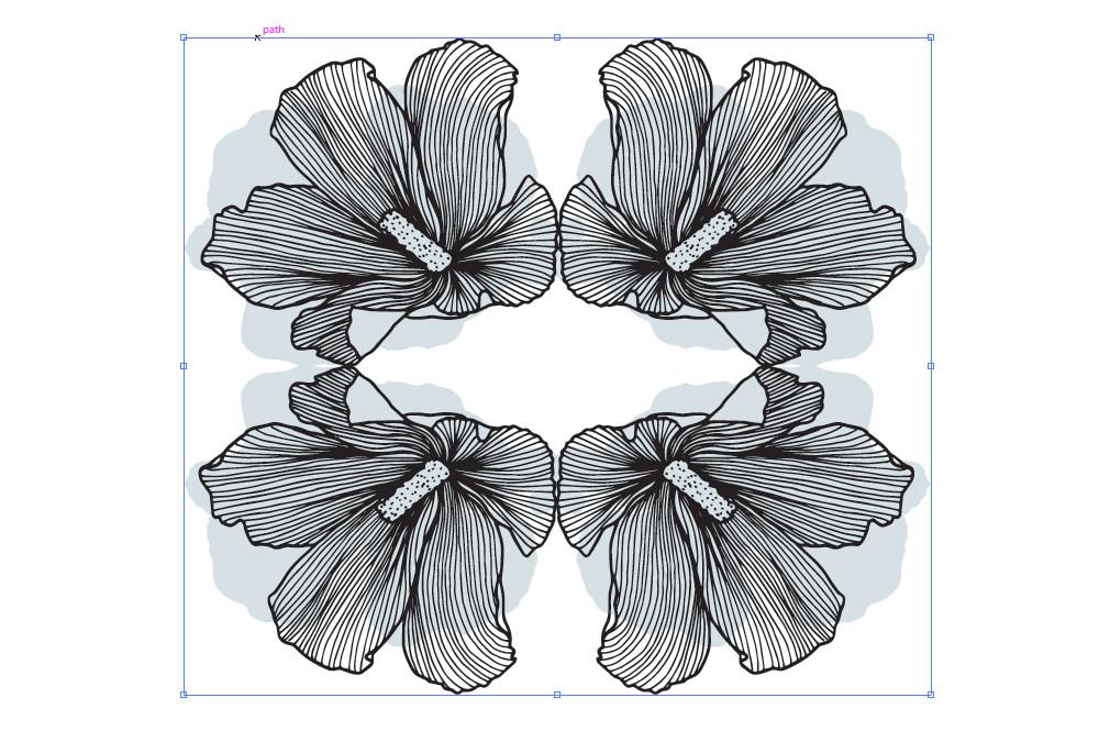lineart floral pattern tile