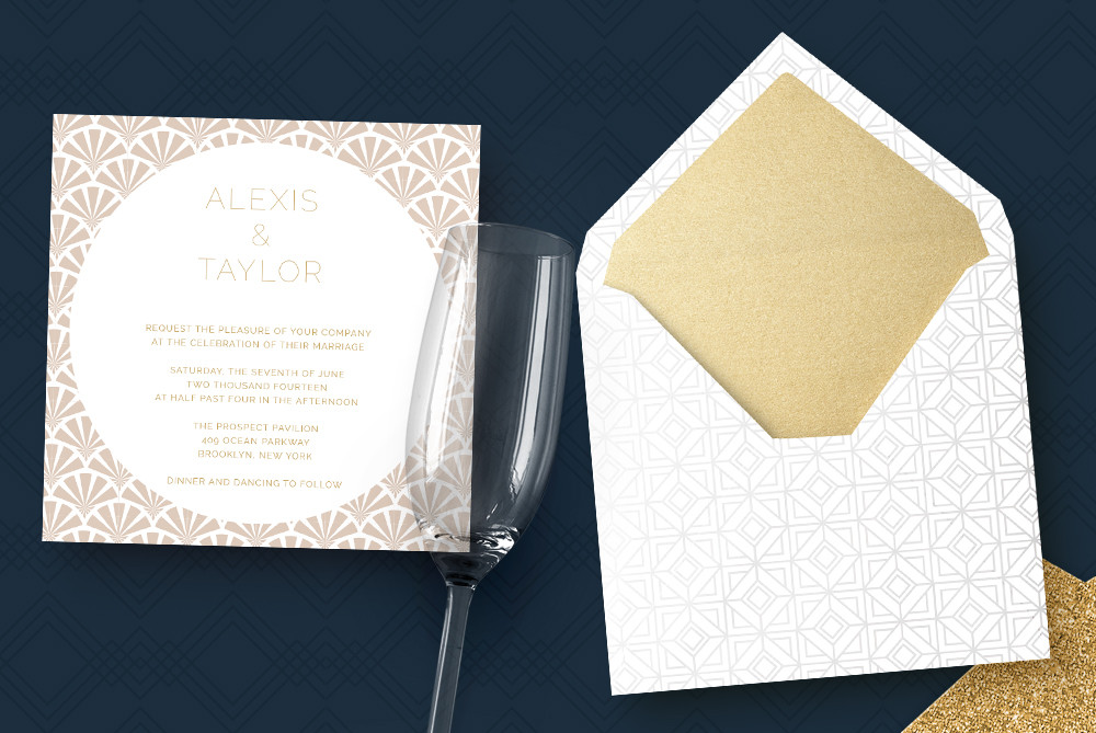 Wedding invitations with Art deco Patterns