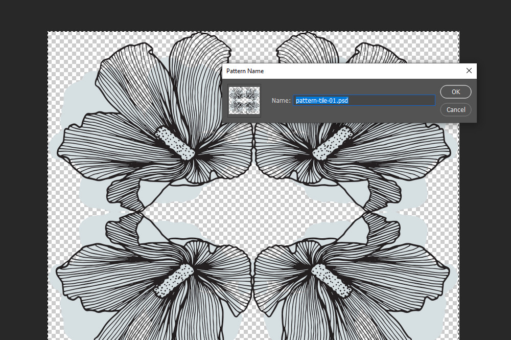 Name your pattern in Photoshop