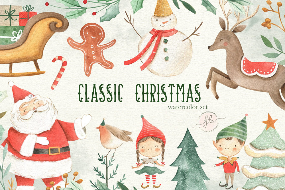 Classic Christmas Watercolor Set