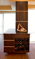 wine rack w/ retractable tv