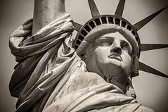 Close-up shot of the Statue of Liberty i