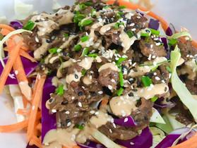 Crunchy Cabbage Salad with Korean Steak and Thai Peanut Dressing