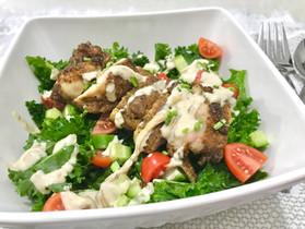 Chicken Shwarma Kale Salad with Creamy Techina Dressing