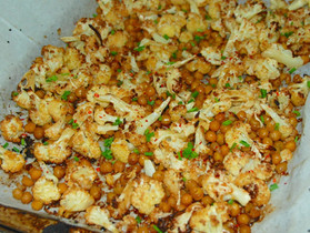 Sheet Pan Spicy Cauliflower and Chickpeas