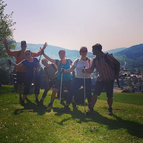 Rocking that beautiful day with our hiking poles after some outdoor yoga in the morning sun...jpg