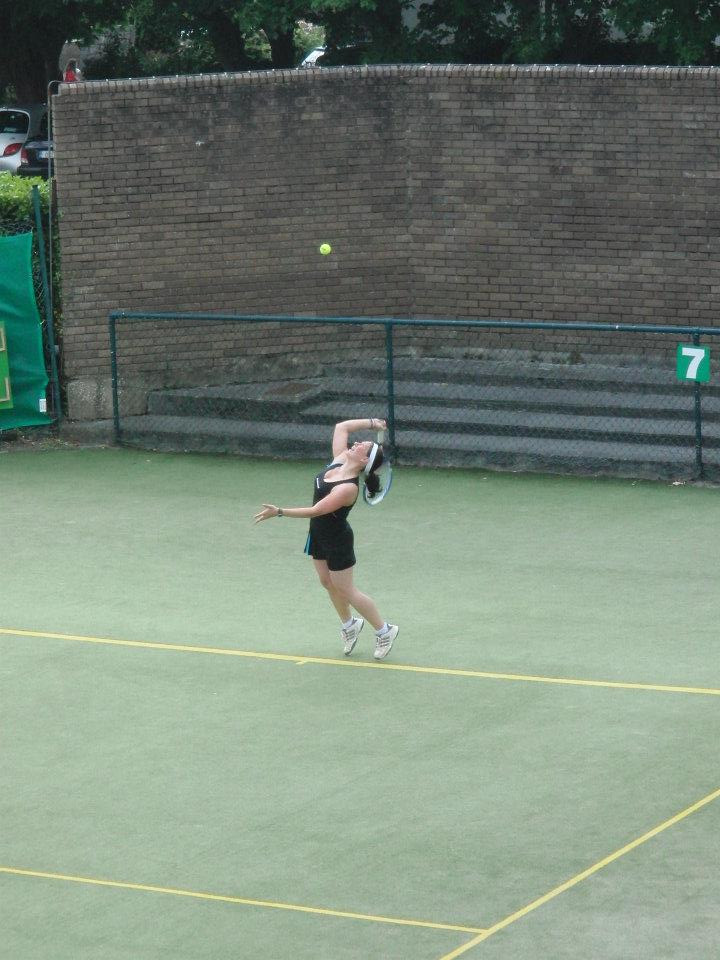 Myself in action on the tennis court in the final of an Irish tournament