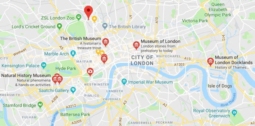 Map showing our Discover London trips