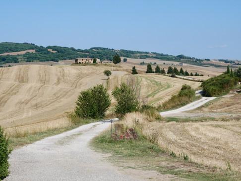 Den långa privata grusvägen leder fram till villan