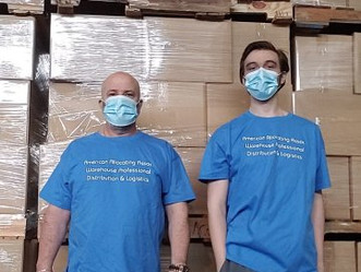 Warehouse Customer service professional, communication in supply chain success. Guy and Matt