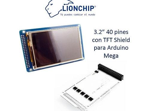 Pantalla TFT 3.2 plg Tactil 40 pines con Shield para Mega