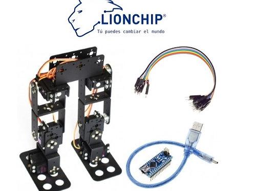 Kit Robot Bipedo 6 DOF con Servos, Cables y Arduino