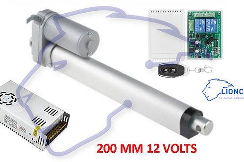 Motor Actuador Lineal 200mm 12V 132Kg Controlador Inambrico y Fuente