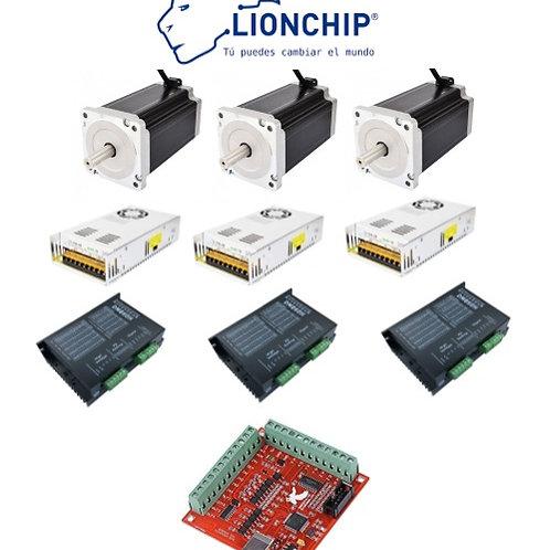 Kit CNC 3 Nema 34, 3 Fuentes, 3 Drive, 1 Controlador USB